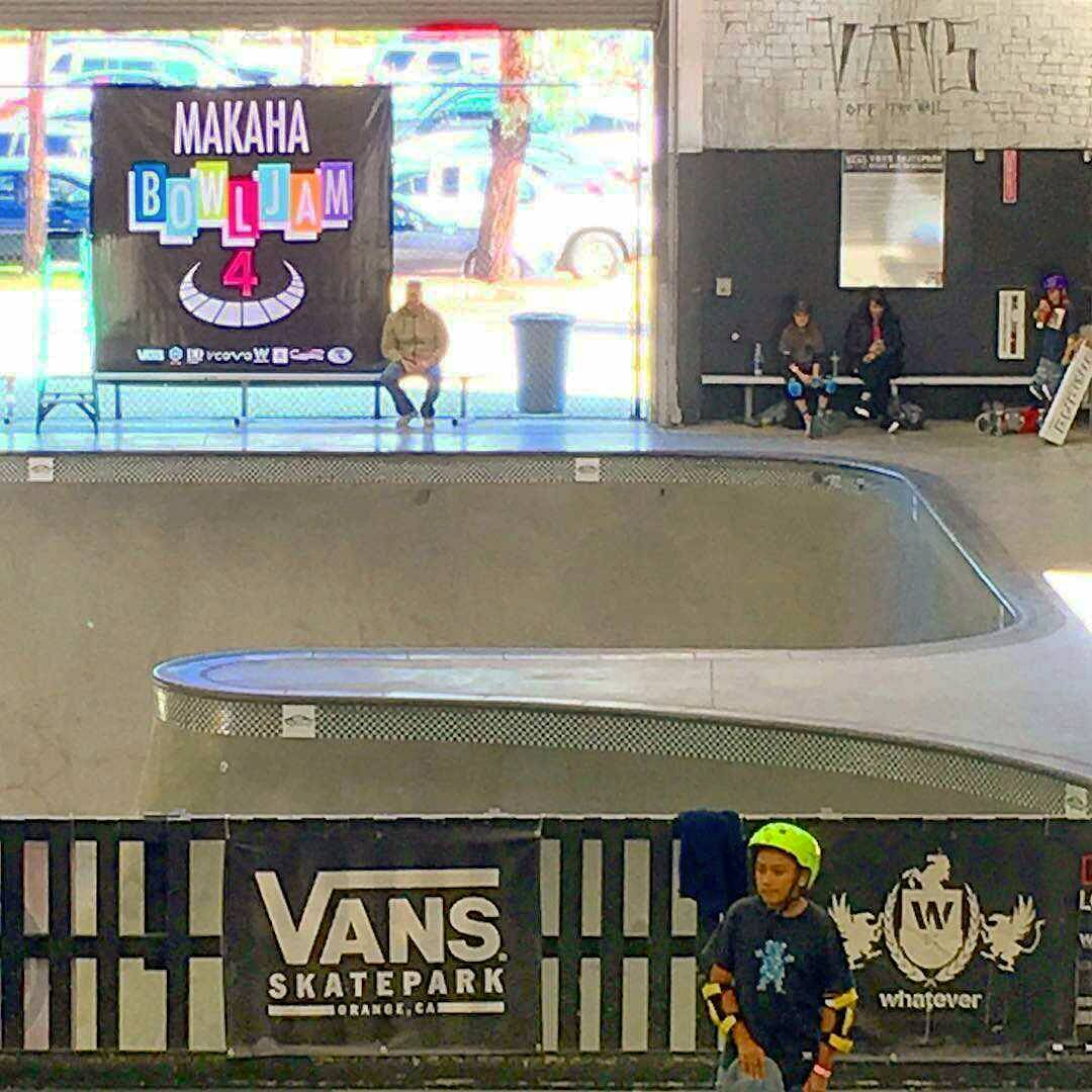We out here at Vans Combi-Bowl in Orange CA today with @whateverskateboards @vansskate and Makaha at the charity Bowl Jam food drive. Cone skate all day for free with 2 cans of food for donation. We're kickin off contests starting at 2pm, best street, best bowl, best trick and more! Killer pros will be here but it's a secret who